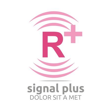 wireless signal: Logo signal letter R plus pink alphabet wireless vector