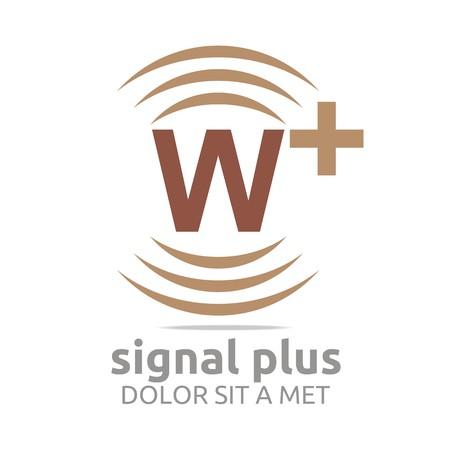 wireless signal: Logo signal letter w plus brown alphabet wireless vector Illustration