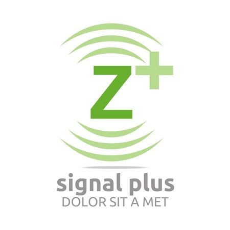 green plus: Logo signal letter z plus green alphabet wireless vector Illustration