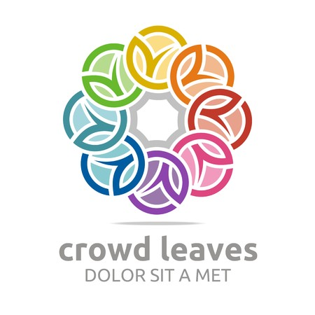 logo element: Abstract logo crowd leaves ecology floral design vector