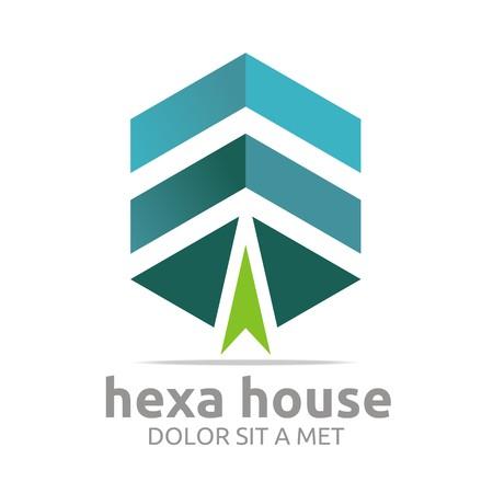 hexa: Logo Hexa House Arrow Design Icon Symbol