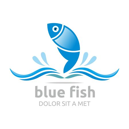 logo poisson: Logo Six Bleu Fish Design Symbole de l'Icône