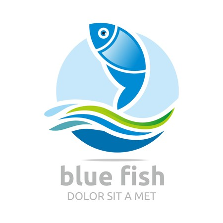 blue fish: Logo Six Blue Fish Design Icon Symbol Illustration