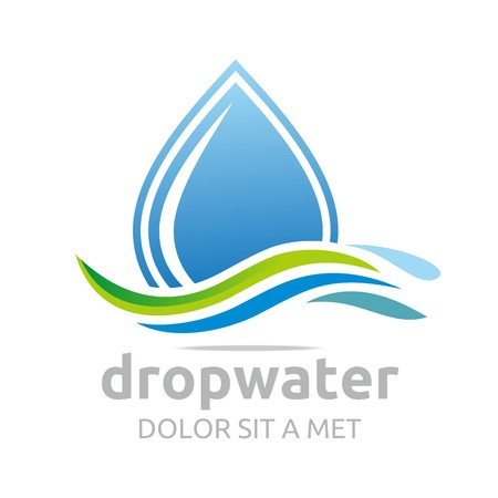 waterfall river: Logo drop water vector shapes symbol