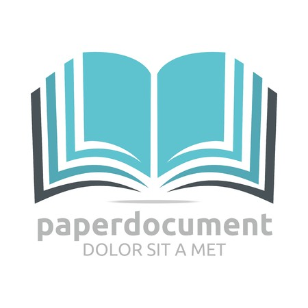 open book icon: Logo document book study dictionary icon vector