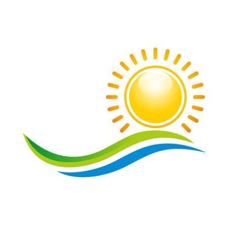 Logo Illustration of Sunset View With Island and Sea Beach