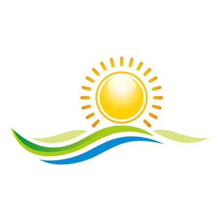 beach sunset: Logo Illustration of Sunset View With Island and Sea Beach