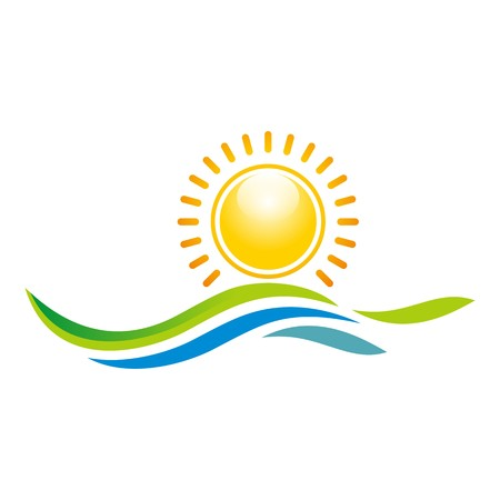 sunset beach: Logo Illustration of Sunset View With Island and Sea Beach