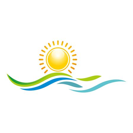 rise: Logo Illustration of Sunset View With Island and Sea Beach