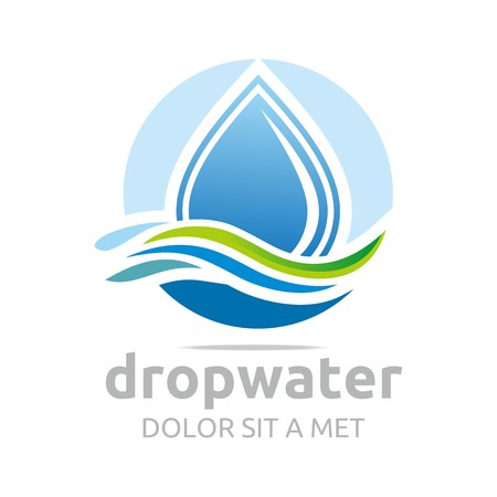 waterfalls: Logo drop water vector shapes symbol