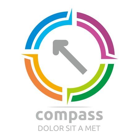 land mark: Logo compass arrow circle icon absract