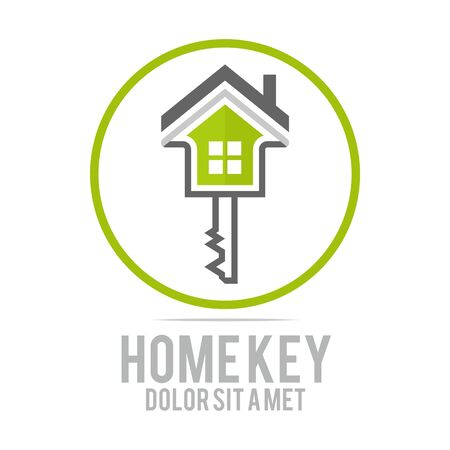 housing estate: Logo home key security symbol vector Illustration