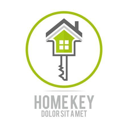Logo home key security symbol vector Illustration