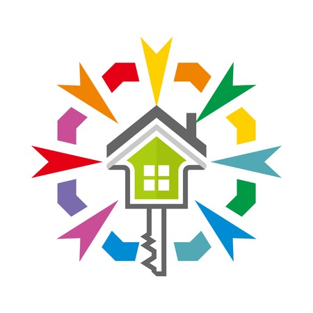 logo casa: Logo home key security symbol vector Vettoriali