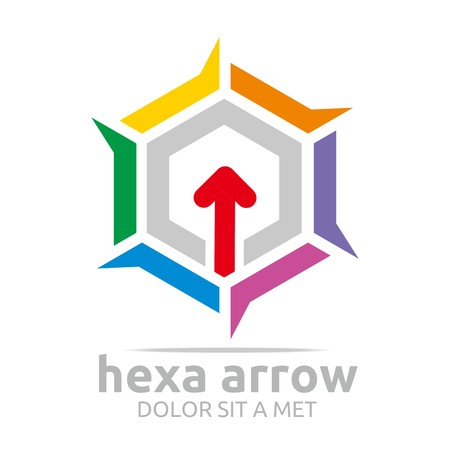 east river: Logo Hexa arrow icon abstract vector Illustration
