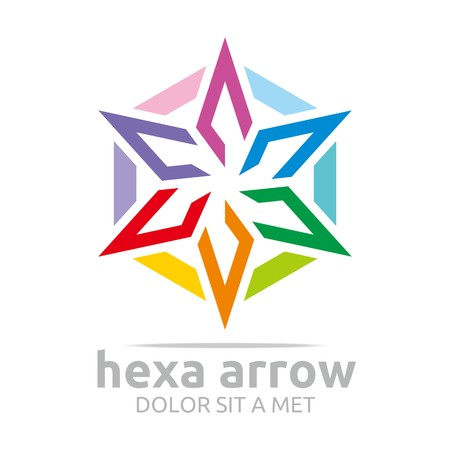 east river: Logo hexa star arrow icon abstract vector