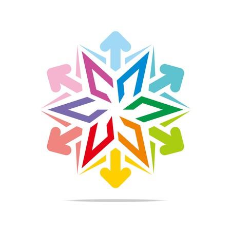 hexa: Logo hexa star arrow icon abstract vector