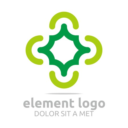 turbulence: Logo green arch element design vector abstract