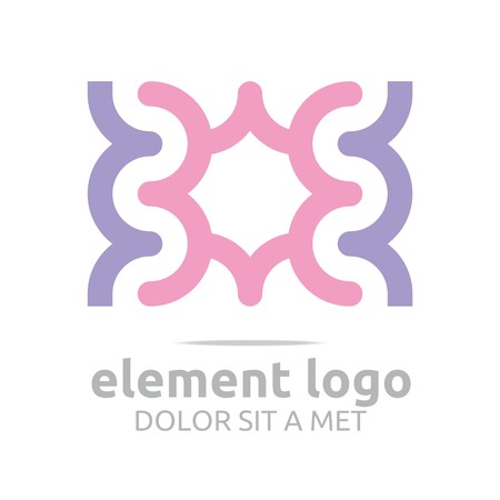 rosy: Logo 3 rosy Arch purple Element Design Vector Abstract Illustration