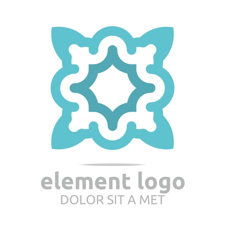 turbulence: Logo Light Blue Arch Element Design Vector Abstract
