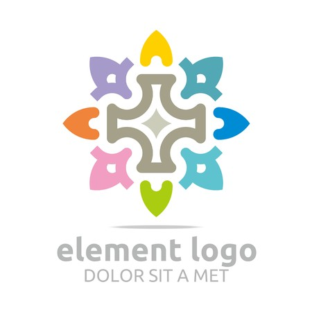 turbulence: Logo Colorful Arch Element Design Vector Abstract
