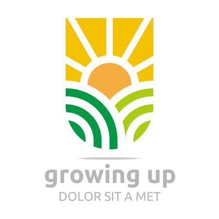 growing up: Logo Design Leaf Growing Up Ecology Icon Sun Symbol Abstract Vector