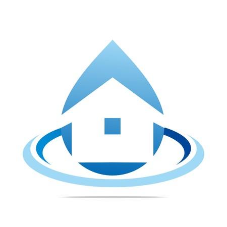 Logo Design Water Drop House Blue Symbol Icon Abstract Vector