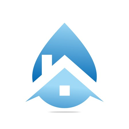 puro: Logo Design House gota de agua azul Símbolo Icono abstracto del vector