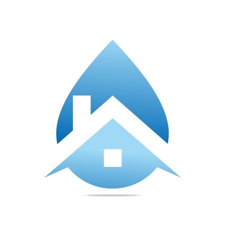 symbole chimique: Logo Design House Goutte d'eau bleu Symbole Icône Vecteur Résumé