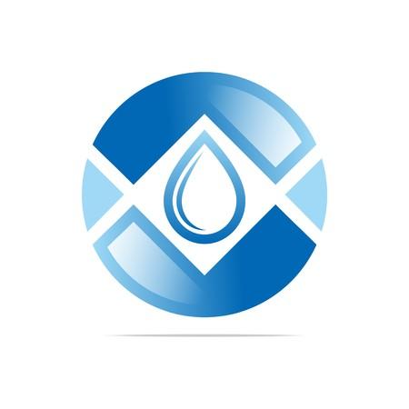 h2o: Logo Design Water Drop Shapes Circle Blue Symbol Icon Abstract Vector