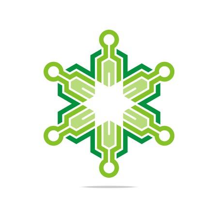 hexa: Logo Abstract Symbol Hexa Star Connecting Icon Element Vector
