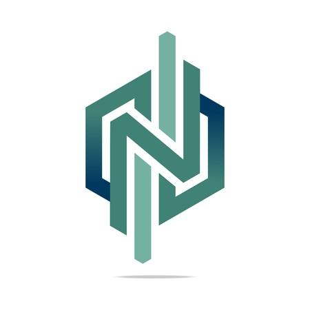 hexa: Logo Abstract Arrow Letter N Symbol Hexa Connecting Icon Element Vector