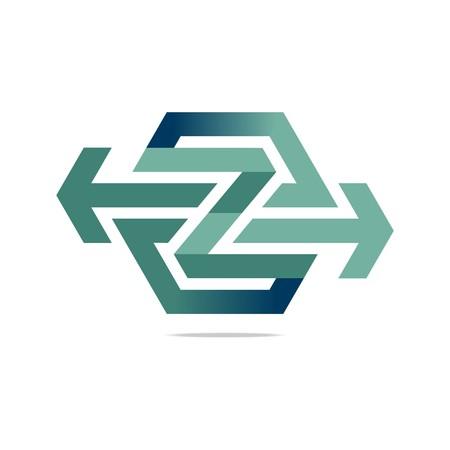 connecting: Logo Abstract Arrow Symbol Hexa Connecting Icon Element Vector