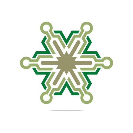 hexa: Abstract Star Symbol Hexa Connecting Icon Element Vector