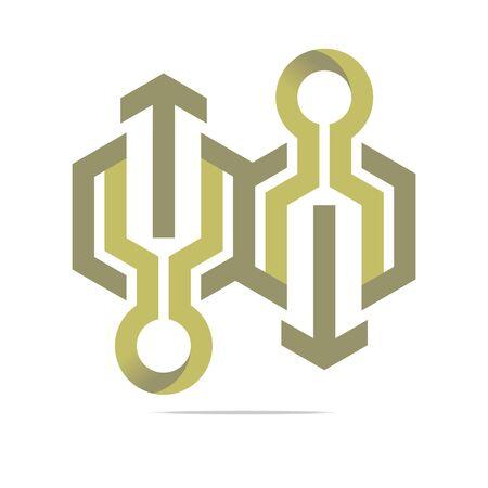 hexa: Logo Abstract Arrow Symbol Hexa Connecting Icon Element Vector