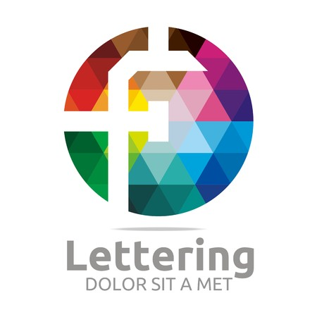 initial: Logo Alphabet Abstract Rainbow Letter Initial F Symbol Icon Design Vector