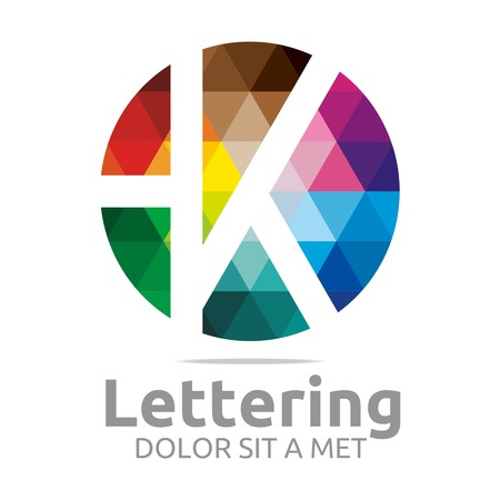 designed: Logo Alphabet Abstract Rainbow Letter Initial K Symbol Icon Design Vector Illustration