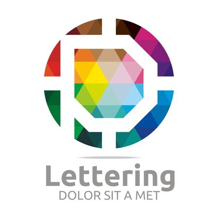 verbs:  Alphabet Abstract Rainbow Letter Initial P Symbol Icon Design Vector Illustration