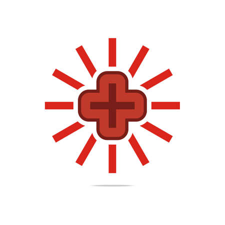 full red: Logo symbol sun full red medical  good perfect performance design