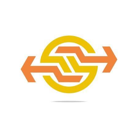 hexa: Design logo symbol hexa connecting arrow letter line icon style Illustration