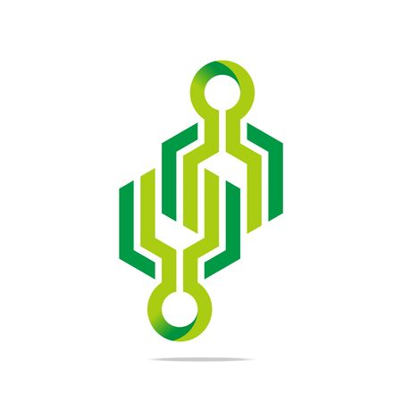 connecting: Design logo symbol hexa connecting arrow letter line icon style Illustration