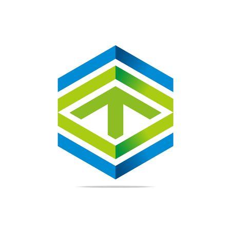hexa: Abstract design symbol hexa arrow lettering line graphic icon element vector