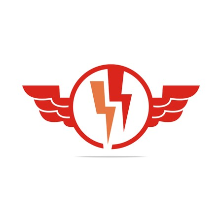 antiquarian: Logo electricity power wings icon design symbol abstract vector