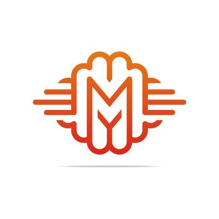 font design: Alphabet letter M creative  font design shape icon style symbol abstract