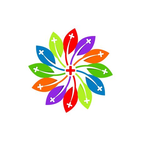 check up: Logo design medical flower healthy care patient check up