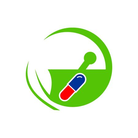 check up: Logo design medical capsule healthy care patient check up