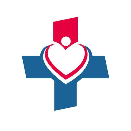 check up: Logo design medical healthy care patient check up