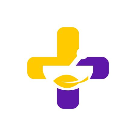 medical check: Logo design medical healthy care patient check up