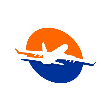 Holiday Plane Logo flying aviation trip vocation route expedition traveling