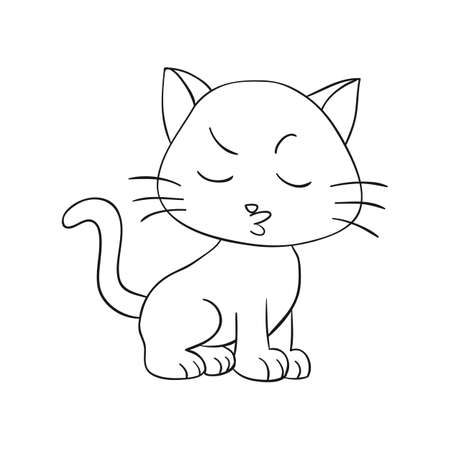 animal pussy: Vector Illustration of Cat Cartoon - Coloring Book